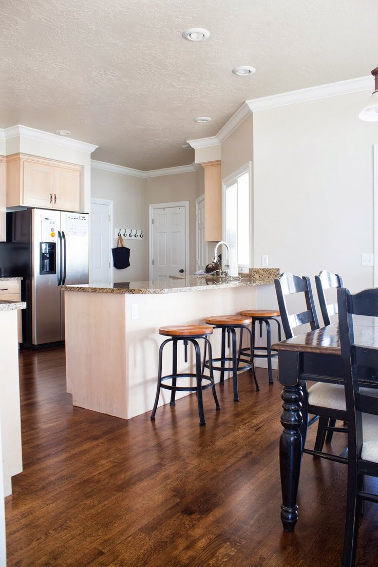 wood floor stain colors wood floor kitchen DIY How to Refinish Harwood Floors Kitchen before and after