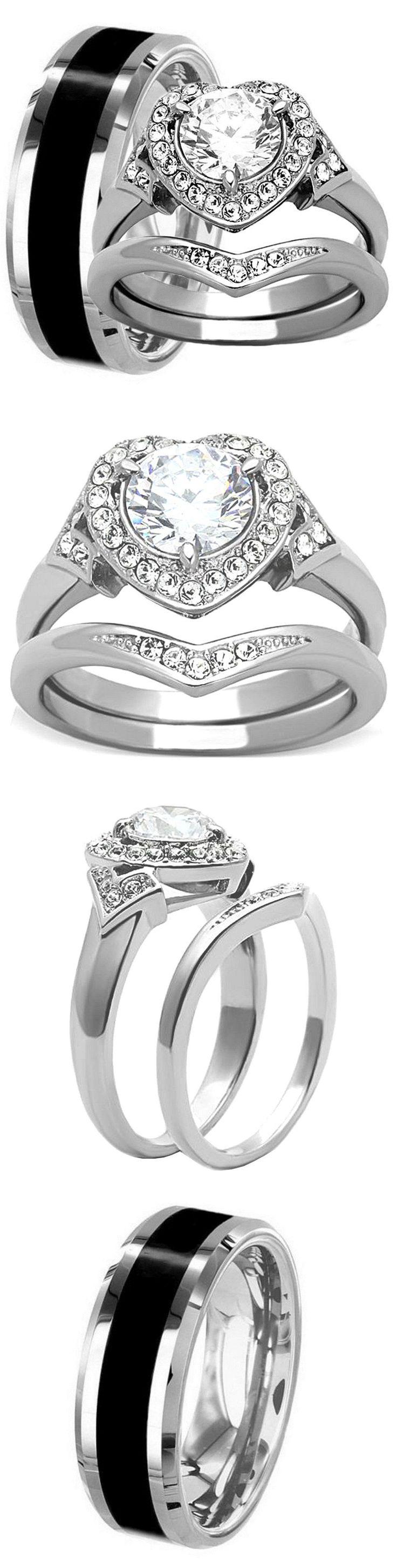 men jewelry ebay wedding rings sets Men Jewelry Men S Black Titanium 8Mm Wedding Band And Women S Halo Cz Stainless