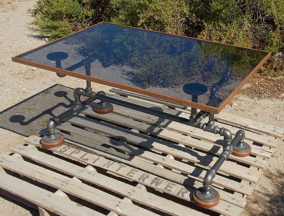 industrial black iron pipe and glass coffee table furniture