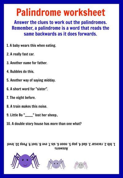 Palindromes - Printable - Worksheets | Palindromes | Pinterest | Activities, Kid activities and Kid
