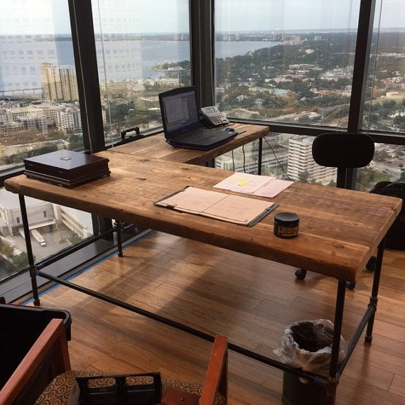 office desk in l shape made with pipe legs or square steel choice of size and finish wood