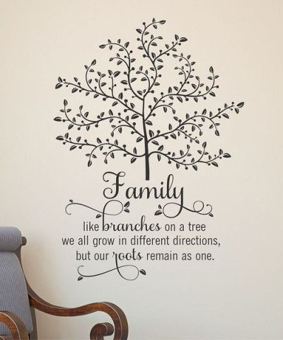 Family, like branches on a tree we all grow in different directions but our roots remain as one ...