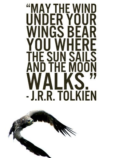 """""""May the wind under your wings bear you where the sun sails and the moon walks."""" ~J.R.R. Tolkien"""