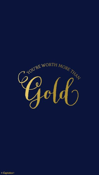 Navy Gold 'Youre worth more' quote iphone phone wallpaper background lock screen   Pretty Tech ...