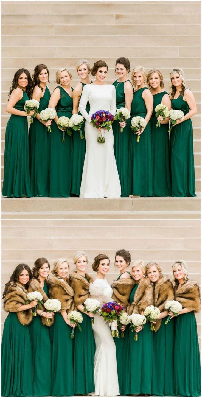 green wedding dresses green wedding dress Emerald green gowns bridesmaids modern wedding dress fur stoles satin