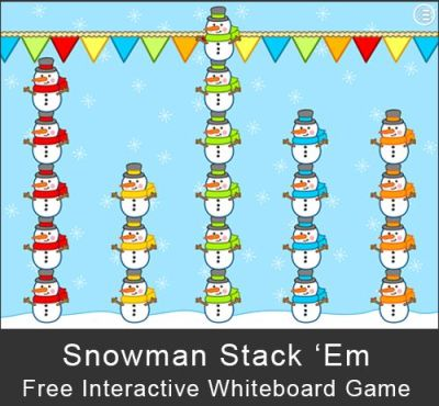 Free - Snowman Stack 'Em Game: A fun, whole class game for the interactive whiteboard ...