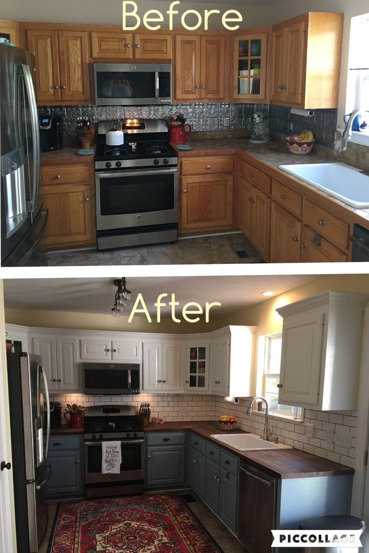 the farmhouse the kitchen kitchen cabinet updates Two toned cabinets Valspar Cabinet Enamel from Lowes Successful kitchen updating Best cabinet