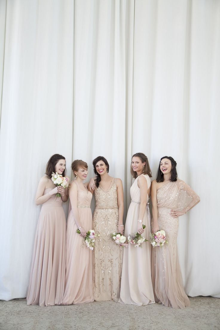champaign wedding dress pink nude bridesmaids dresses blushing BHLDN beauties Bridesmaid Dresses Bouquets Pinterest Blush dresses Wedding and Dress lace