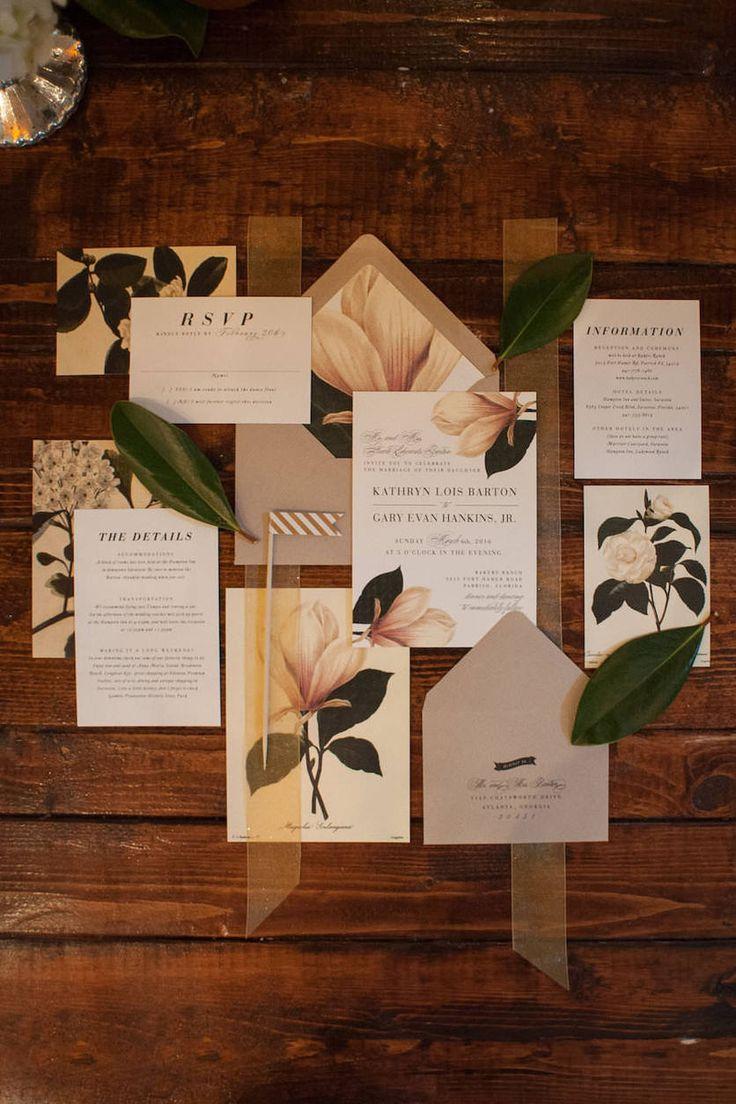wedding invitation suite wedding invitation suites Ivory and Green Wedding Invitation Suite with Magnolia Tree Detail and Sheer Ribbon Enclosure Sarasota