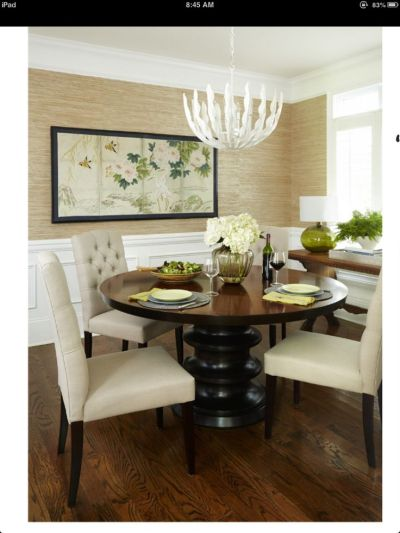Grasscloth wallpaper, wainscoting, furniture placement (note console), World Market chairs ...