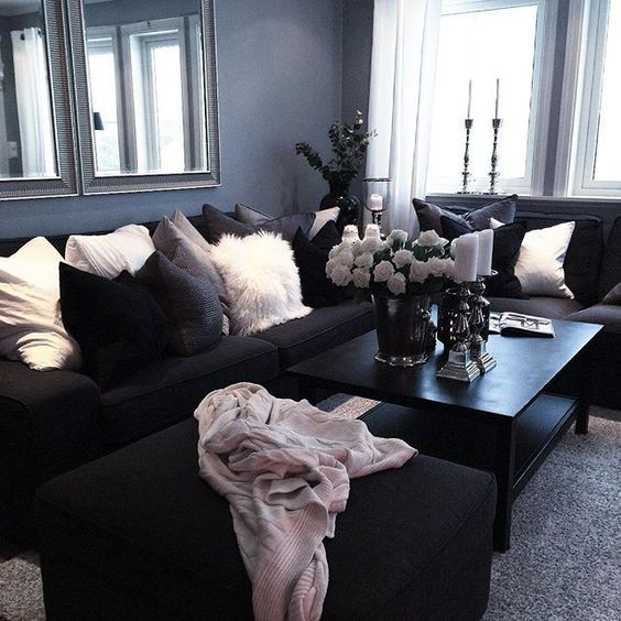 find this pin and more on get in my house black couch white accents living room decor furniture