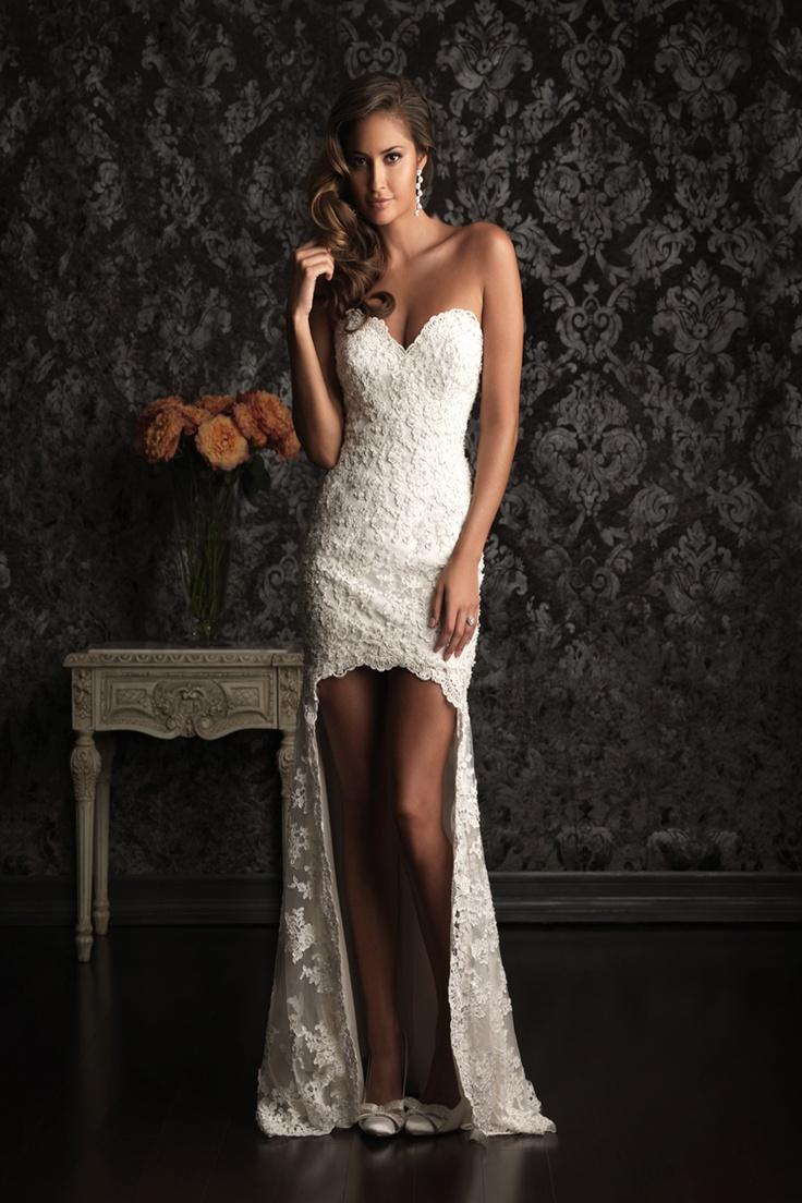 wedding dresses sexy short wedding dresses Spaghetti Strap Sweetheart Neck Open Back Short Front Long Back Lace Bodice Wedding Dress WD