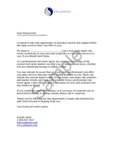 Real Estate Letters of Introduction Introduction Letter Real Estate Agent Jim Pellerin | General ...