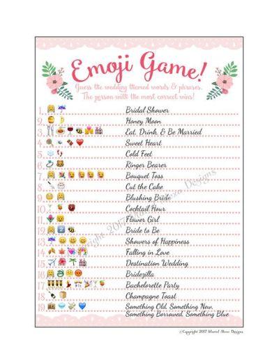 Emoji Pictionary Emoticon Game Bridal Shower Printable file PDF instant download | Fun Wedding ...