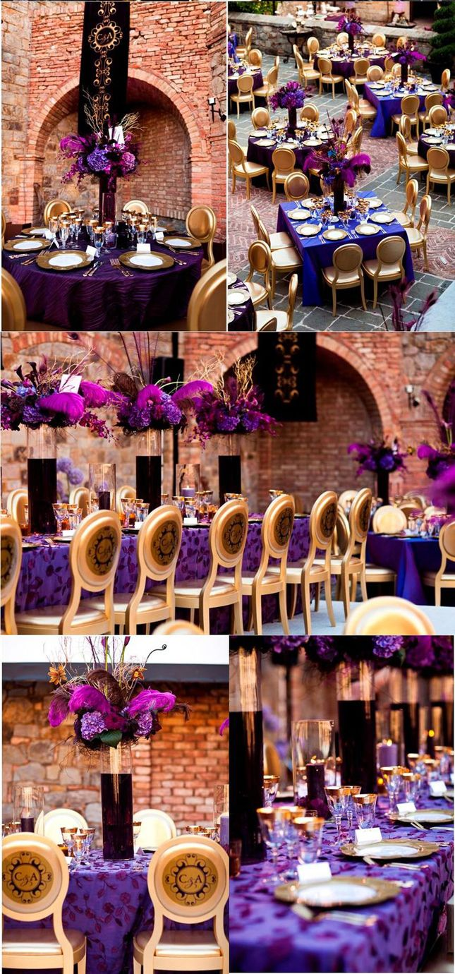 purple gold weddings purple and gold wedding Wedding Inspiration Stunning Purple Gold Decor