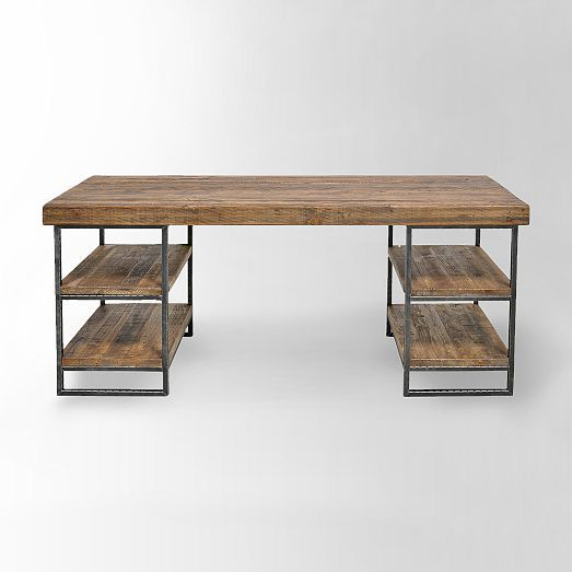 i feel like this hewn wood desk from west elm would make a great bar office