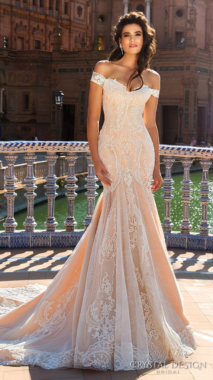 off shoulder wedding dress wedding dress with color Beautiful Wedding Dresses from the Crystal Design Collection Sevilla Bridal Campaign