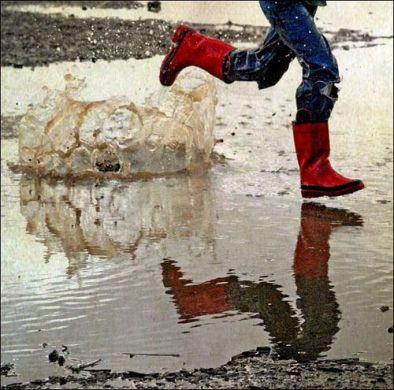 Running through Puddles on Rainy days