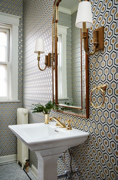 small bathroom with a lot of pattern on wall, wallpaper, gold mirror, wall sconces | Bathrooms ...