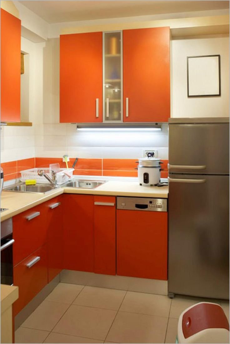 small kitchen ideas small kitchen remodeling Kitchen Modern Small Kitchen Remodeling With Orange Kitchen Cabinets Also Refrigerator With Kitchen Faucet Also Sink Also Rice Cookers Also Trash Witeh