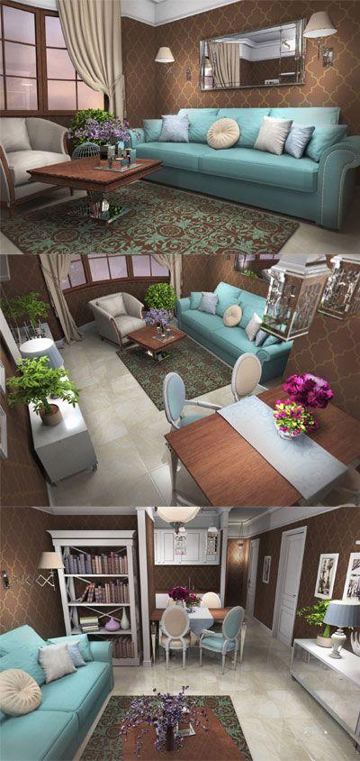Living Room, Duck Egg Blue Sofa, Chocolate Brown Wallpaper ...
