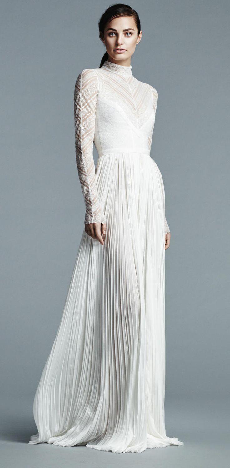 longsleeve highneck gowns turtleneck wedding dress cool J Mendel Shows Modern Floral Wedding Dresses for Spring