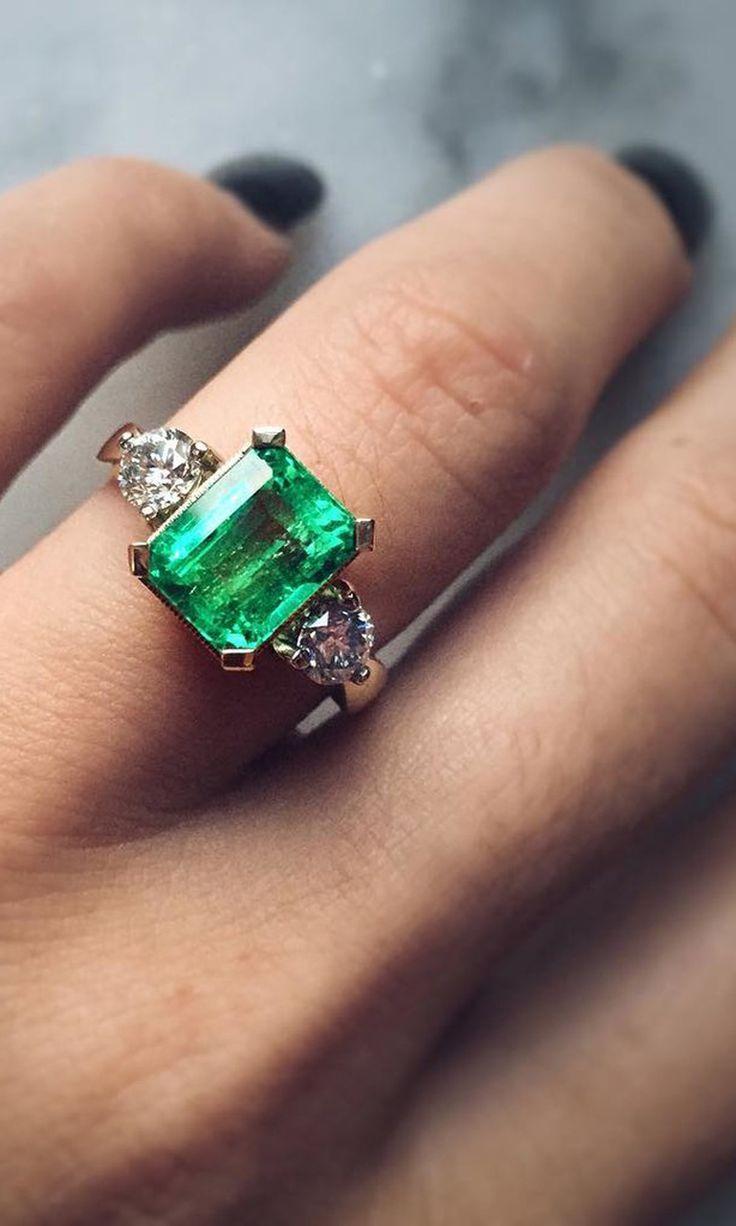 emerald engagement rings wedding rings under 44 Vintage Inspired Engagement Rings