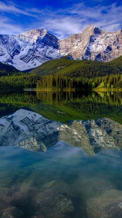 Mountain Landscape Reflection Mountains Lake Rocks #iPhone #5s #wallpaper | iPhone 5(s ...