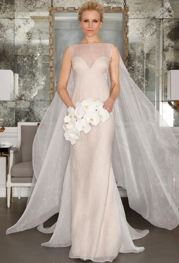romona keveza wedding dresses wedding dress with cape Romona Keveza s Spring Collection Is All About Feminine Florals Wedding BrideWedding GownsWedding