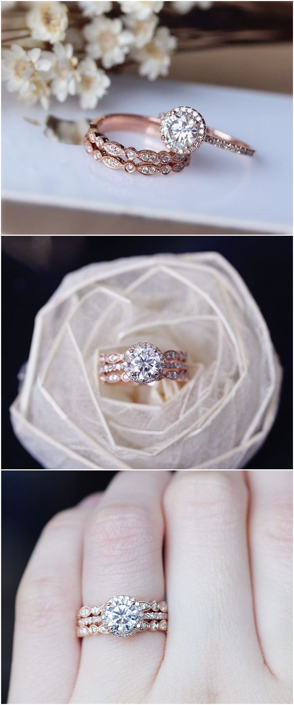 wedding rings rose gold rose gold wedding rings 1ct Brilliant Moissanite Engagement Ring 3 Ring Set Solid 14K Rose Gold Wedding Ring Set Moissanite