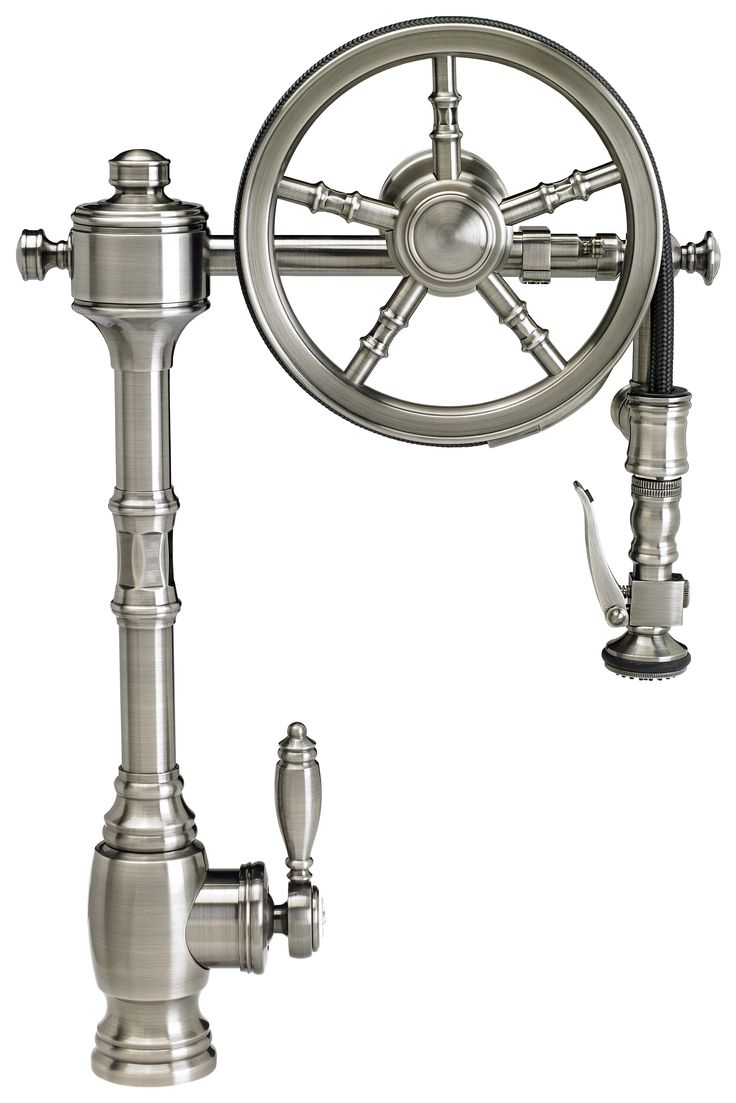 the wheel pulldown faucet faucet kitchen Waterstone Wheel Pulldown Kitchen Faucet Finish is Antique Pewter