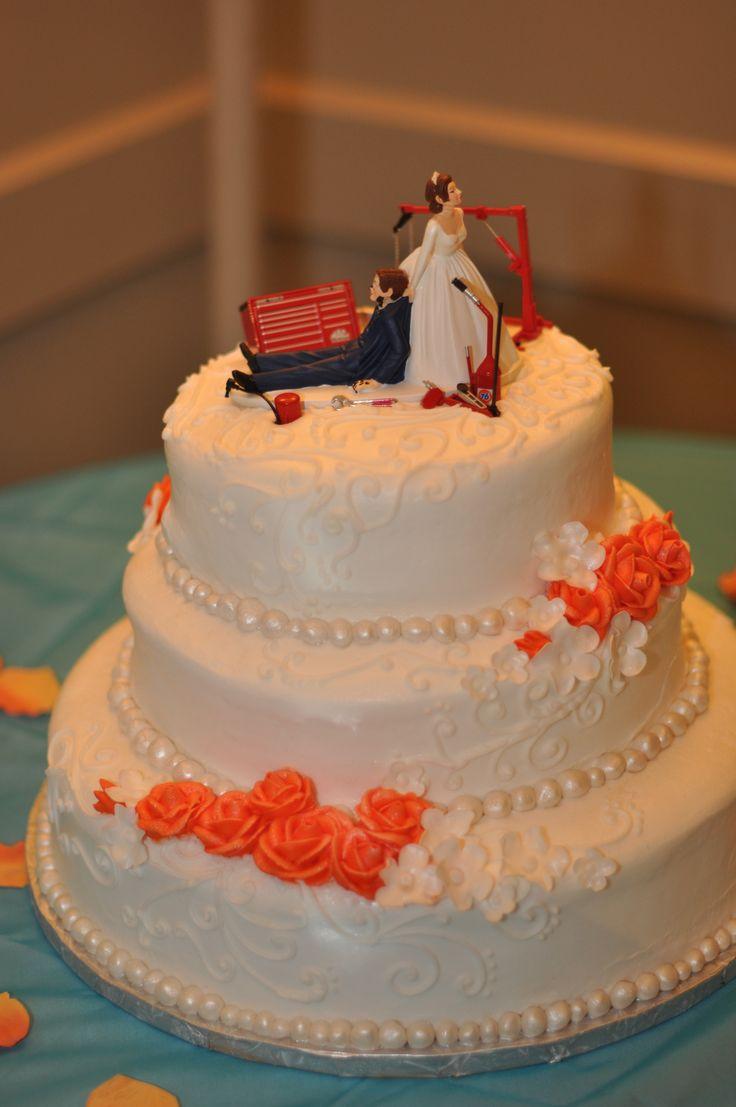 mechanic stuff mechanic wedding ring Our Wedding Cake with a mechanic cake topper 3