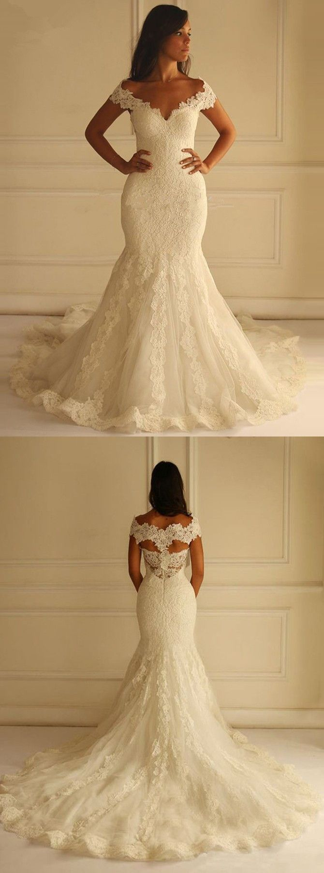white lace wedding dress white wedding dresses Special Off Shoulder Court Train Short Sleeves Mermaid Lace Wedding Dress with Appliques