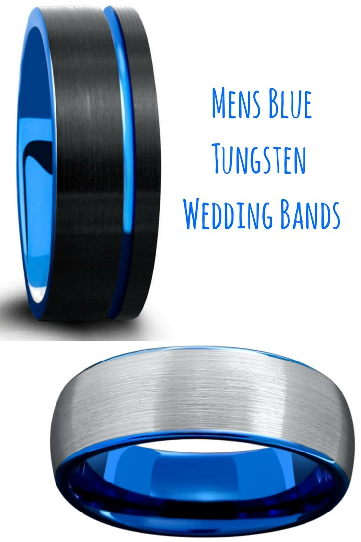 tungsten wedding bands tungsten hammered wedding band Mens blue tungsten wedding bands Both of these rings are designed with a brushed tungsten