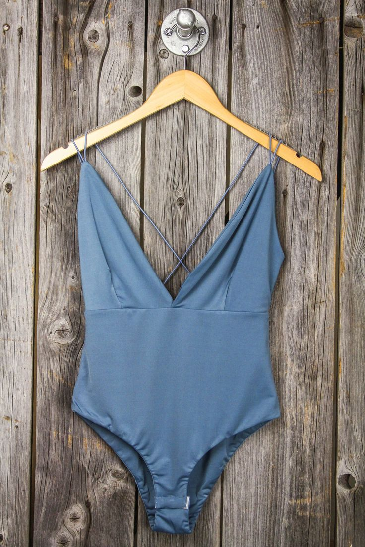 Spaghetti Strap Back Deep V Bodysuit – Dusty Blue