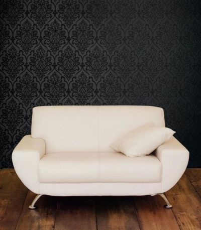 Black Damask on Darky Grey- Accent Wall behind couch. Note color of couch and wood floors ...
