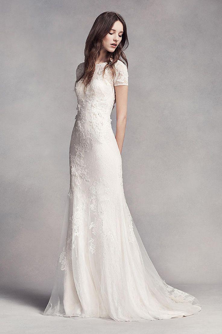 classic wedding dress simple white wedding dresses White by Vera Wang Short Sleeve Lace Wedding Dress Ganda nito Kung natatanggal Yung ibabaw para change outfit s reception