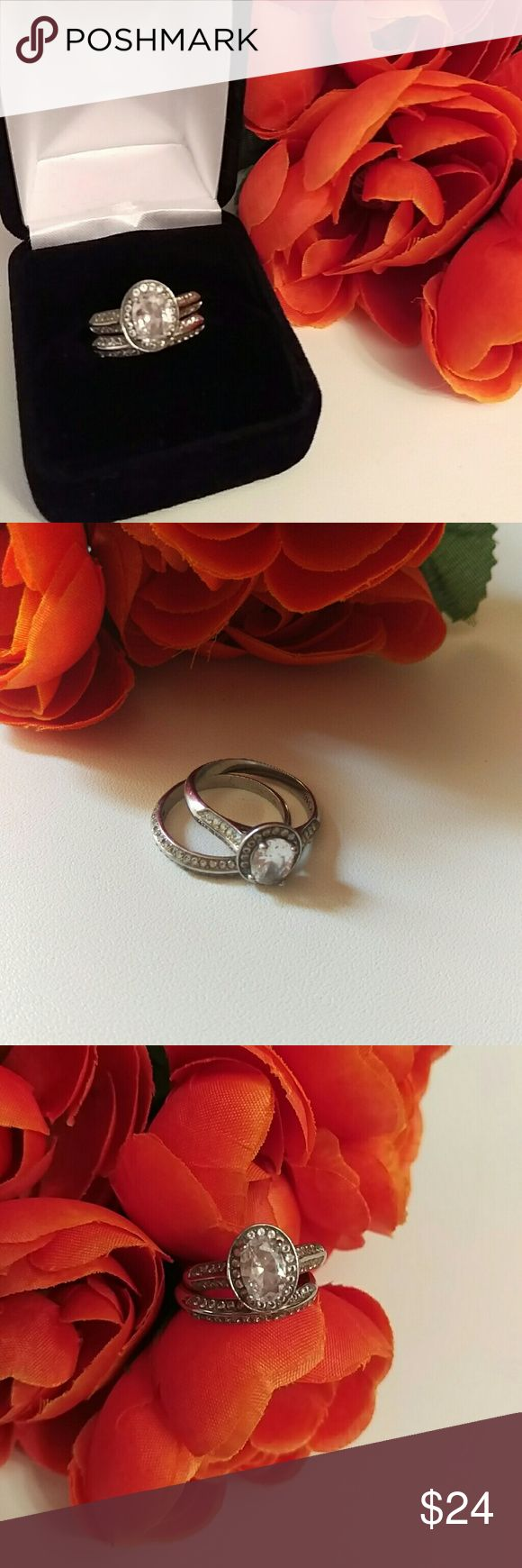 inexpensive wedding rings low cost wedding rings CZ Bridal Ring Set SZ 9 High end zirconia hand cut to achieve Inexpensive Wedding