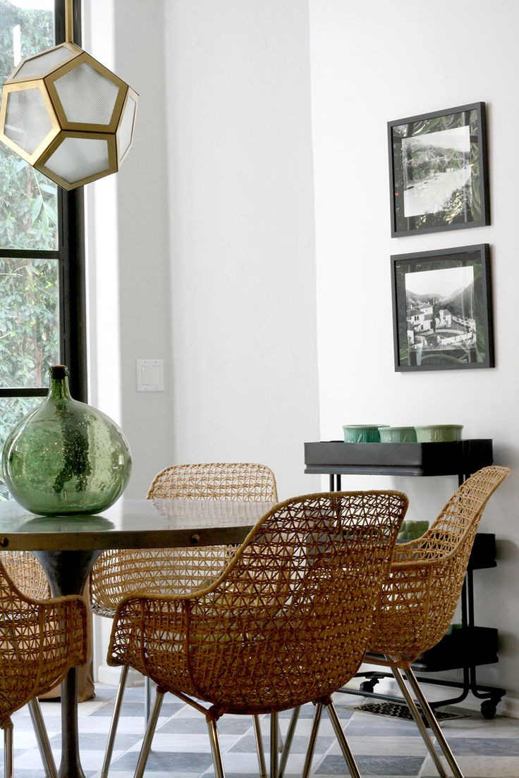 wicker dining chairs wicker kitchen chairs 10 Lessons We Learned from Nate Berkus Green Dining ChairsRattan