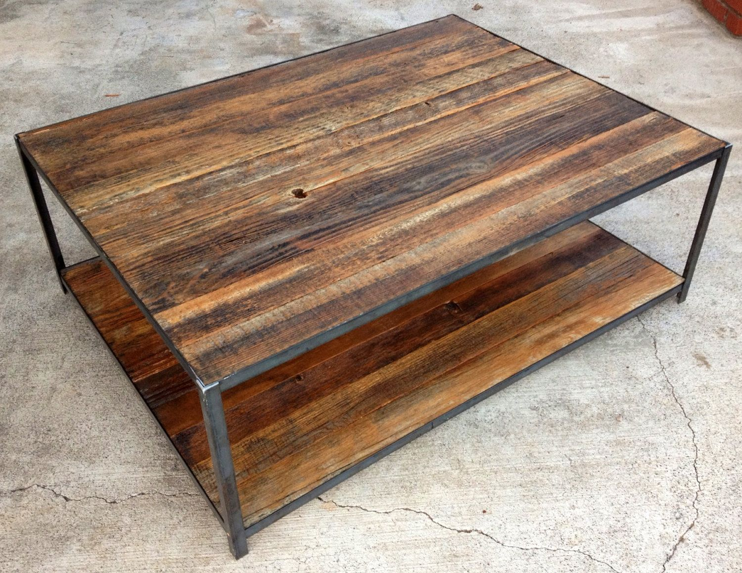 reclaimed wood and angle iron coffee table 40000 via etsy furniture ideas i