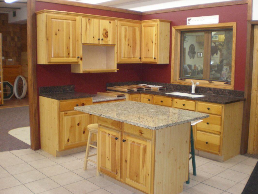 knotty pine kitchen cabinet doors pine kitchen cabinets Knotty Pine Kitchen Cabinets With Small Island Table