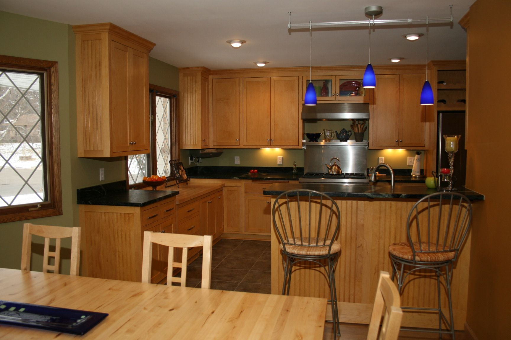 kitchens with maple cabinets Maple cabinets and soapstone countertops