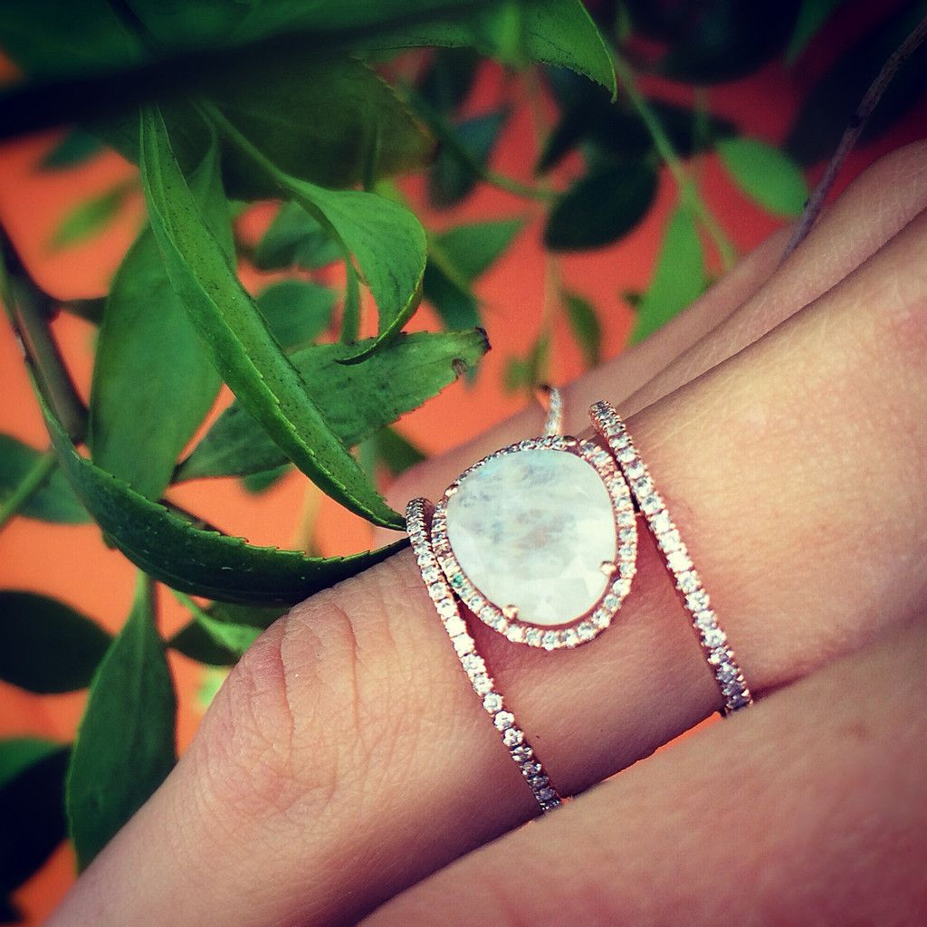 moonstone wedding rings 14kt gold and diamond Double Band Moonstone ring