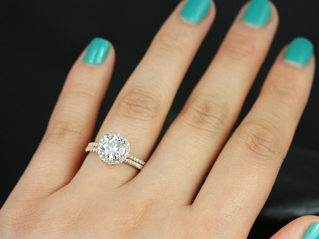wedding set Rosados Box Kimberly 7 5mm 14kt Rose Gold Round FB Moissanite and Diamond Halo Wedding Set