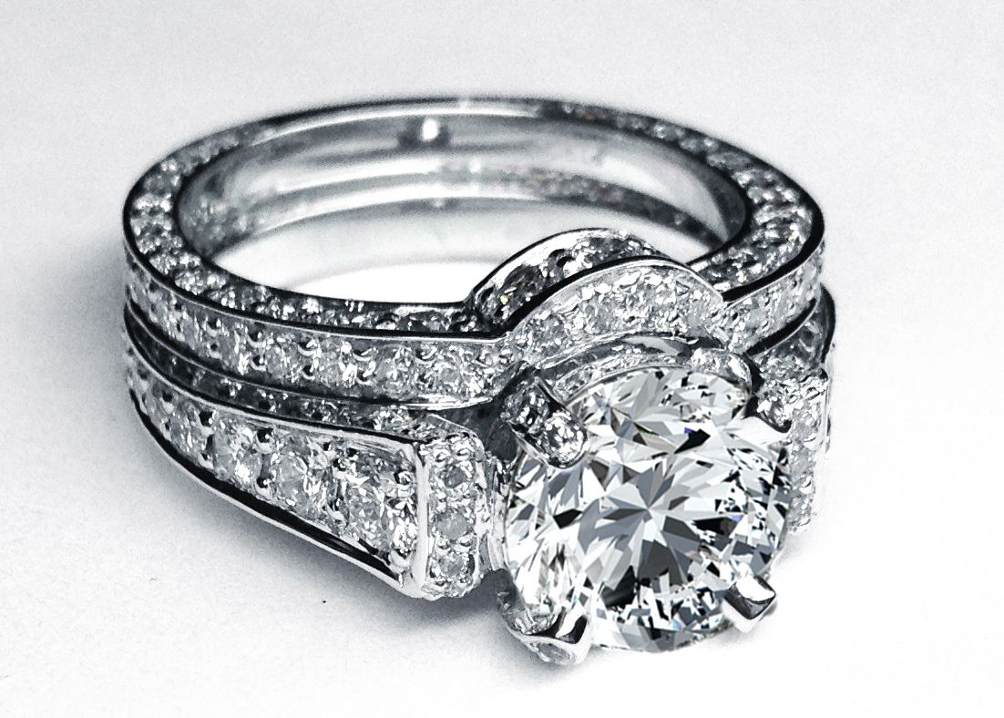 jewelry contour diamond wedding band Fancy Large Round Diamond Cathedral Graduated pave Engagement Ring in White Gold with Matching Pave Wedding Band