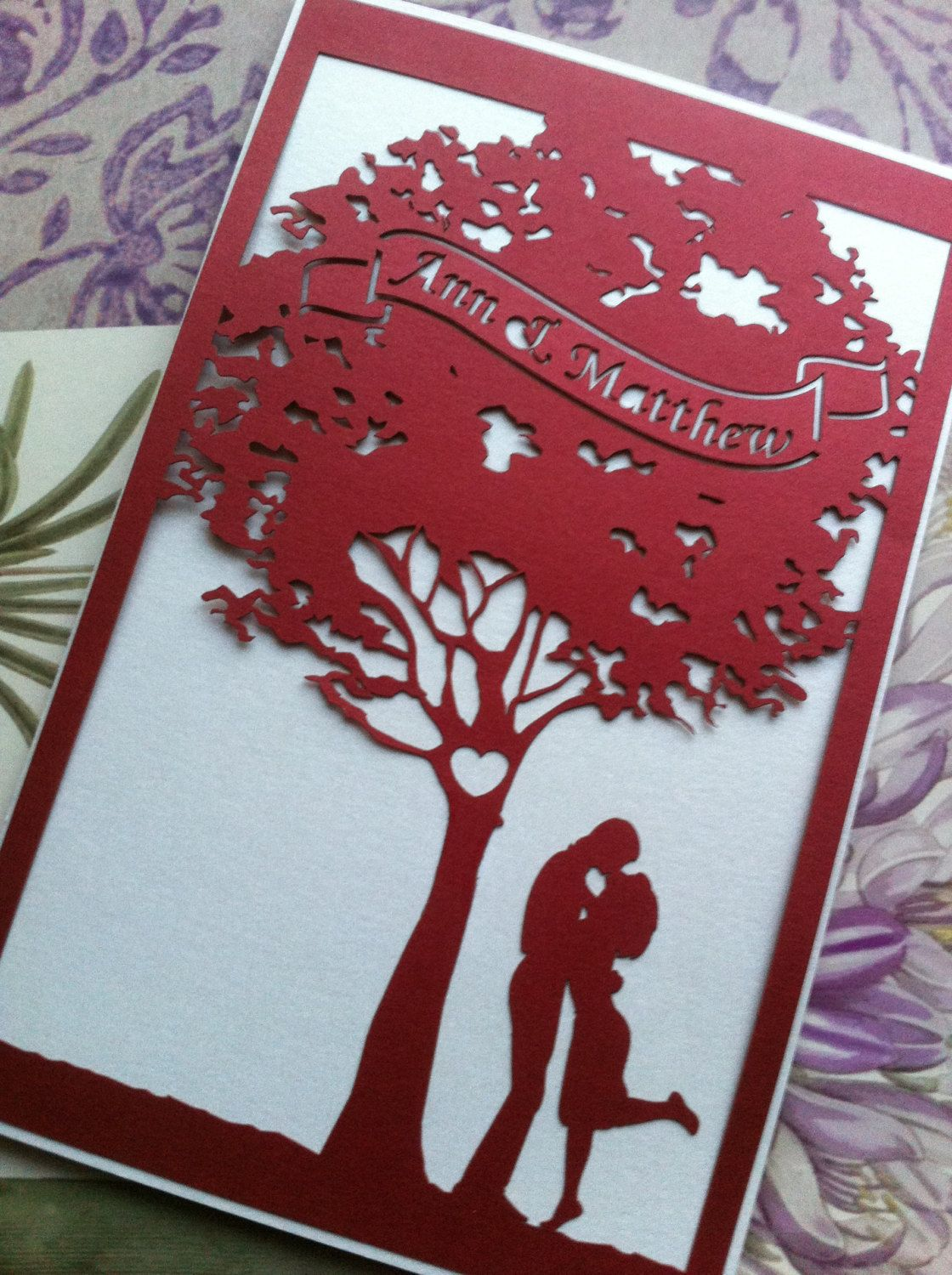 laser cut wedding invitations Love tree custom laser cut wedding invitations and reply cards LOVE DIY able invitations decorations Pinterest Wedding Facebook and Infos