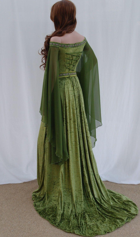 medieval wedding dress Elven dress Celtic wedding dress medieval dress renaissance dress forest fairy