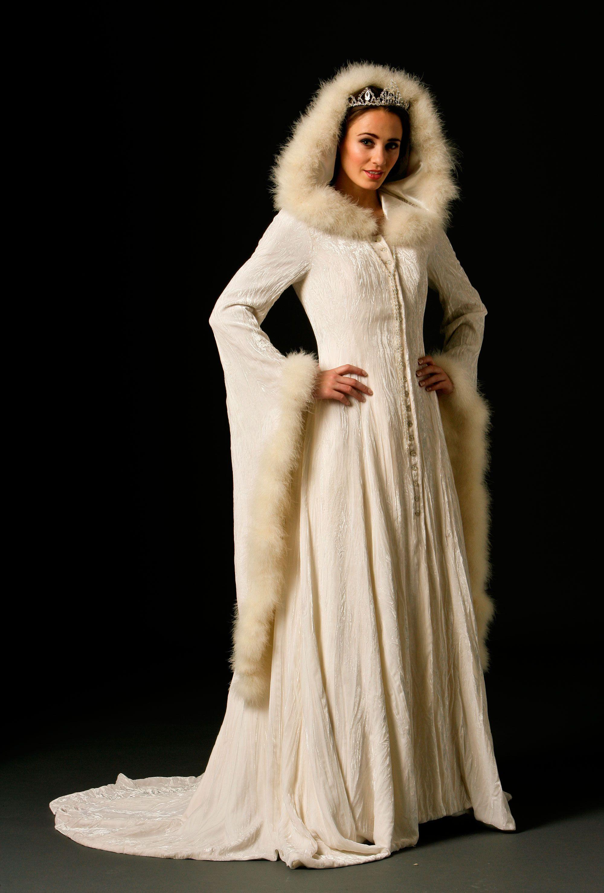velvet wedding dress Sweeping long coat of winter white crushed silk velvet Full skirt with train