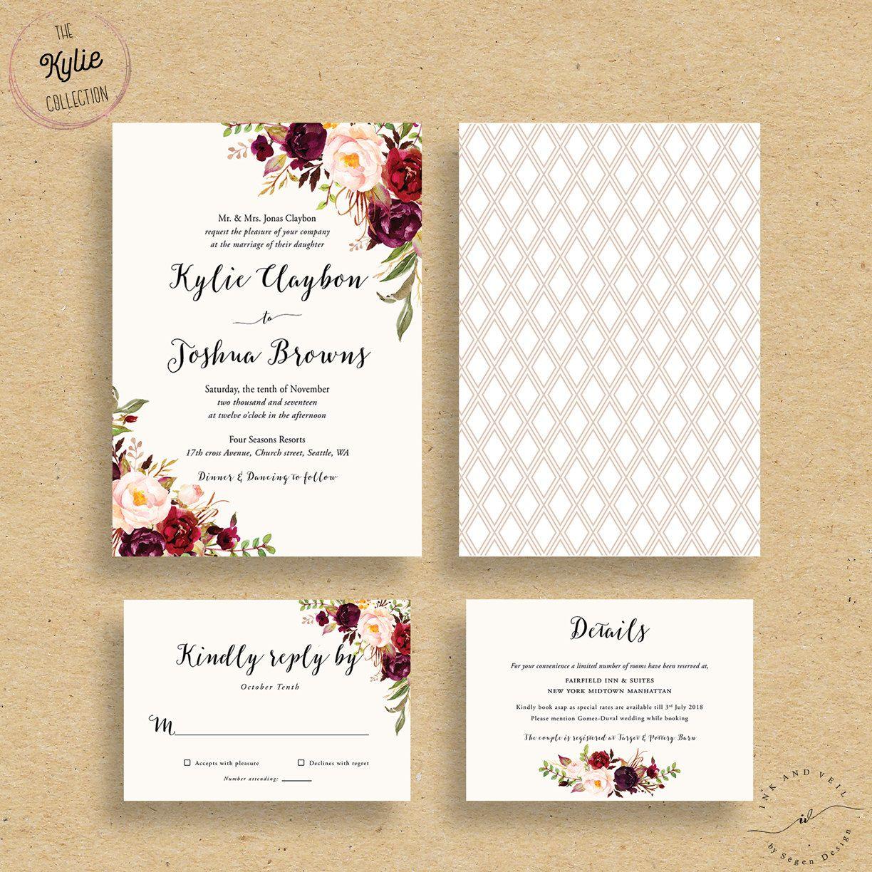 wedding invitations Marsala Wedding Invitations Fall Floral Wedding Invites Autumn Winter Wedding Invitations Bohemian Rustic