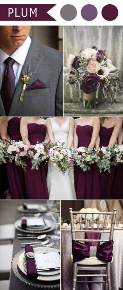 plum purple and grey elegant wedding color ideas | wedding ...
